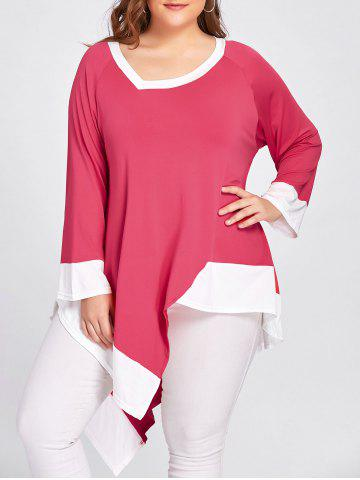 Contraste Plus Size Long Handkerchief Hem T-shirt