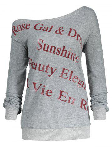 Affordable One Shoulder Plus Size Letter Print Sweatshirt - 2XL GRAY Mobile