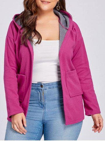 Outfit Plus Size Drop Shoulder Wool Blend Hooded Coat - 4XL ROSE RED Mobile