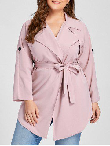Outfits Plus Size Wrap Lapel Trench Coat PINK 2XL