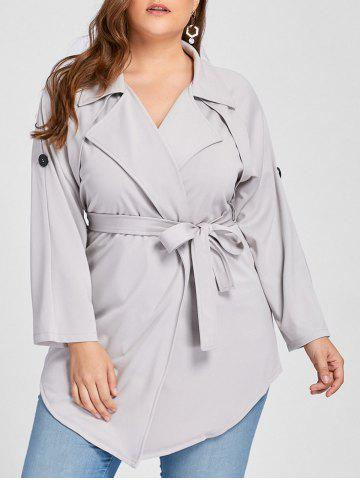 Unique Plus Size Wrap Lapel Trench Coat - XL GRAY Mobile