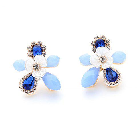 Affordable Faux Sapphire Rhinestone Flower Stud Earrings