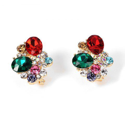 Buy Faux Gem Crystal Oval Stud Earrings COLORMIX