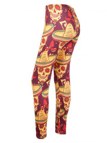 Outfits Skull Print High Waisted Halloween Leggings - 2XL COLORMIX Mobile
