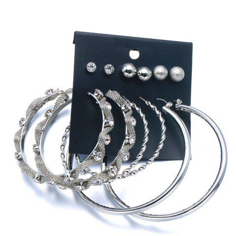 Store Rhinestone Punk Circle Ball Earring Set - SILVER  Mobile
