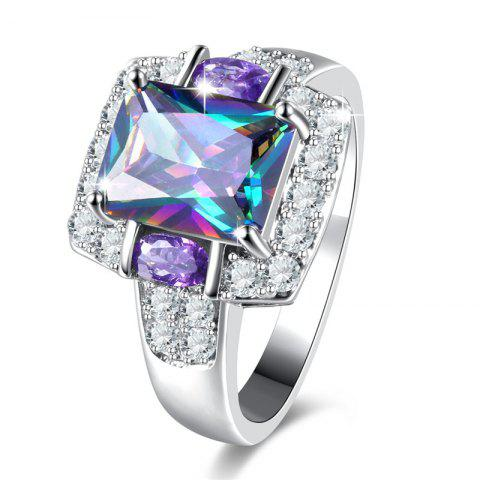 Outfit Sparkly Faux Crystal Gem Finger Ring SILVER 7