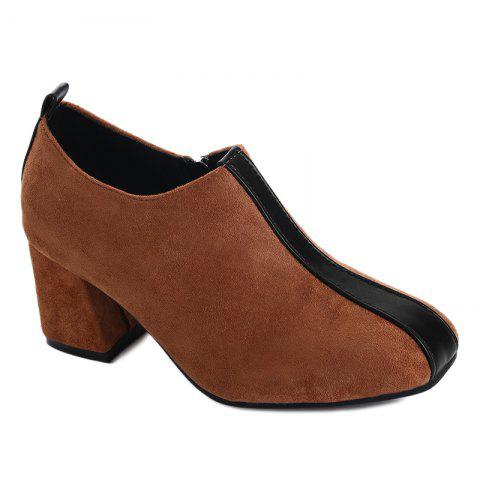 Outfit Square Toe Color Block Ankle Pumps - 38 BROWN Mobile