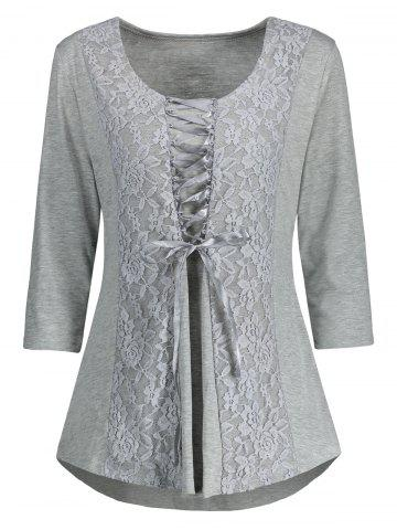Chic Lace Insert Lace Up Top GRAY L