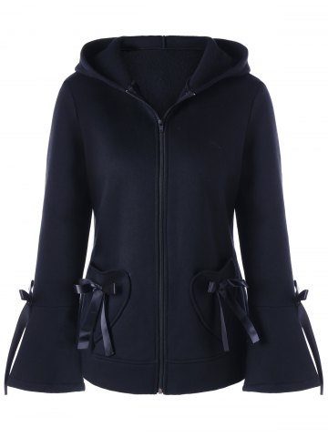 Cheap Heart Pockets Lace-up Hooded Zip Up Jacket BLACK XL