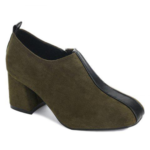 Store Square Toe Color Block Ankle Pumps - 39 GREEN Mobile