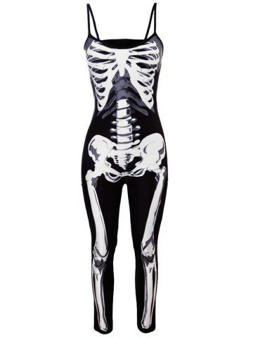Outfits Halloween Skeleton Jumpsuit Costume - S BLACK Mobile