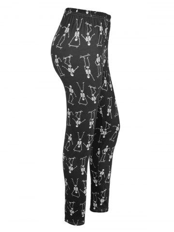 Chic Skeleton Print High Waisted Halloween Leggings BLACK S
