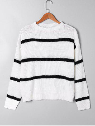 Hot Two Tone Open Knitted Sweater WHITE S
