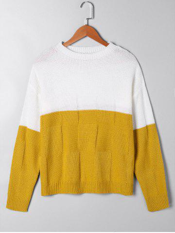 Store Two Tone Crew Neck Sweater - M WHITE AND YELLOW Mobile