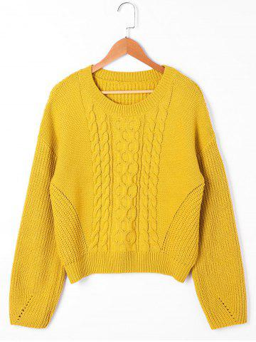 Store Cable Knit Drop Shoulder Sweater - L YELLOW Mobile