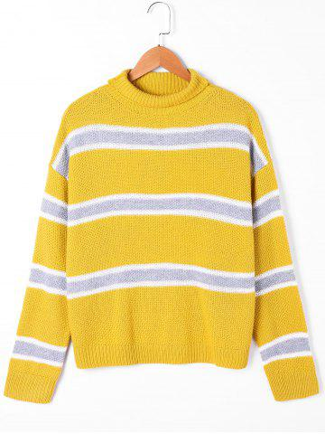 Outfits Drop Shoulder Striped Turtleneck Sweater YELLOW M