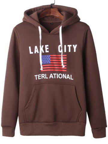 Chic American Flag Graphic Kangaroo Pocket Hoodie COFFEE XL