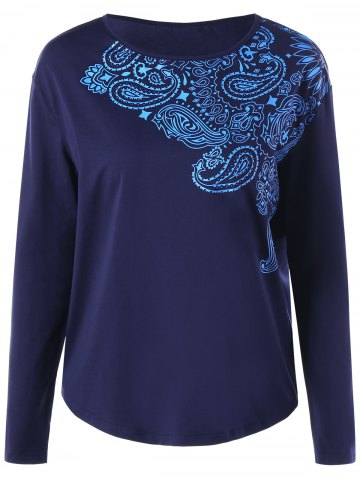 Best Long Sleeve Paisley Print Top DEEP BLUE L