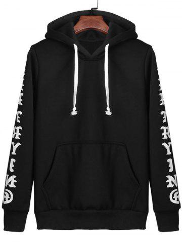 Hot Letters Print Kangaroo Pocket Pullover Hoodie - L BLACK Mobile