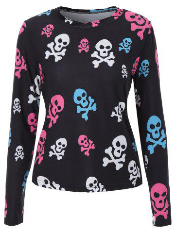 Shop Long Sleeve Skull Print Halloween T Shirt - M BLACK Mobile