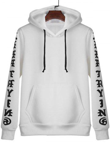 Unique Letters Print Kangaroo Pocket Pullover Hoodie WHITE XL