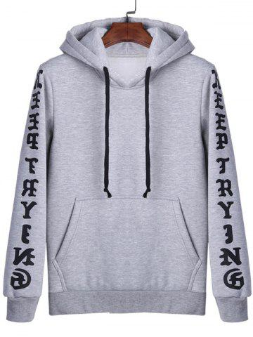 Cheap Letters Print Kangaroo Pocket Pullover Hoodie - L GRAY Mobile