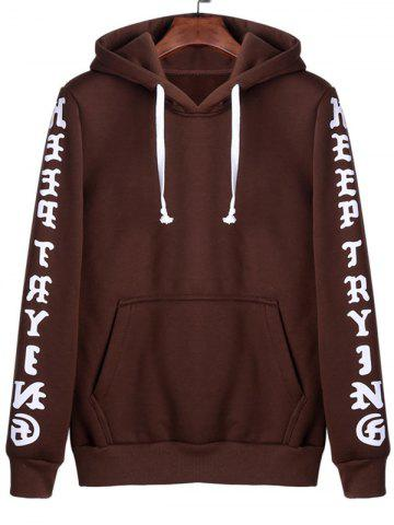 New Letters Print Kangaroo Pocket Pullover Hoodie - 4XL COFFEE Mobile