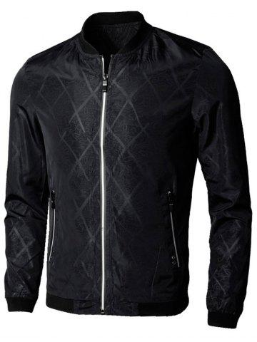 Affordable Casual Zip Up Diamond Bomber Jacket BLACK 3XL