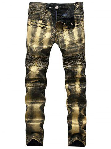 Discount Straight Leg Metallic Color Biker Jeans GOLDEN 32