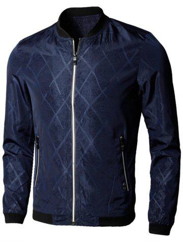 Outfit Casual Zip Up Diamond Bomber Jacket DEEP BLUE 3XL