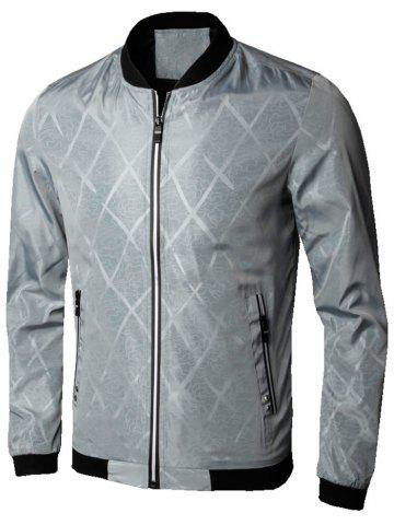 Cheap Casual Zip Up Diamond Bomber Jacket - 4XL GRAY Mobile