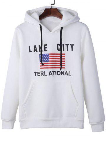 Sale American Flag Graphic Kangaroo Pocket Hoodie WHITE XL