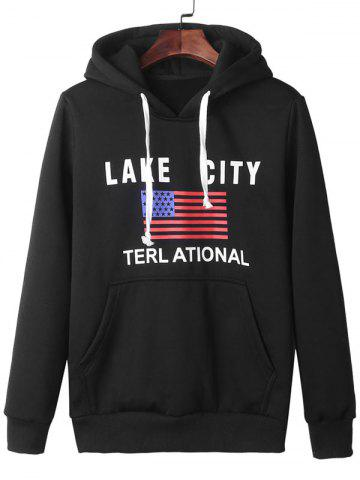 Trendy American Flag Graphic Kangaroo Pocket Hoodie - 3XL BLACK Mobile
