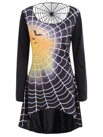 Trendy Spider Web Bell Sleeve Halloween T-shirt Dress BLACK S