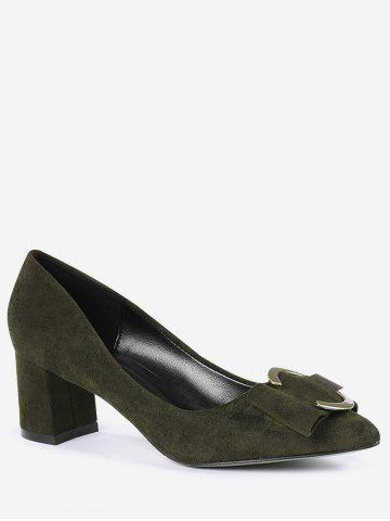 Best Pointed Toe Metal Buckle Strap Pumps - 35 BLACKISH GREEN Mobile