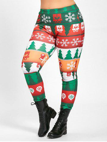 Online Plus Size Tight  Christmas Tree Printed Pants - 2XL GREEN Mobile