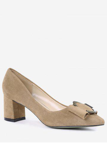 Fancy Pointed Toe Metal Buckle Strap Pumps - 39 CAMEL Mobile