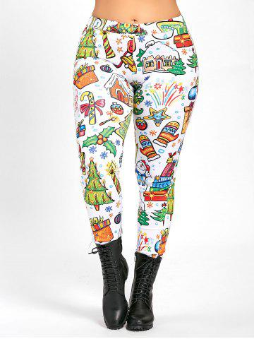 Outfit Plus Size Christmas Day Printed Pants - XL WHITE Mobile