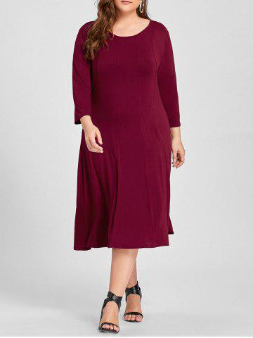 Outfit Plus Size A Line Midi T Shirt Dress WINE RED XL