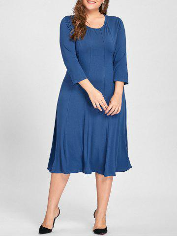 Shops Plus Size A Line Midi T Shirt Dress - 3XL MEDIUM BLUE Mobile