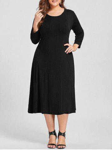 Best Plus Size A Line Midi T Shirt Dress - 3XL BLACK Mobile