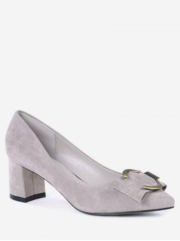 Cheap Pointed Toe Metal Buckle Strap Pumps - 35 SUEDE ROSE Mobile