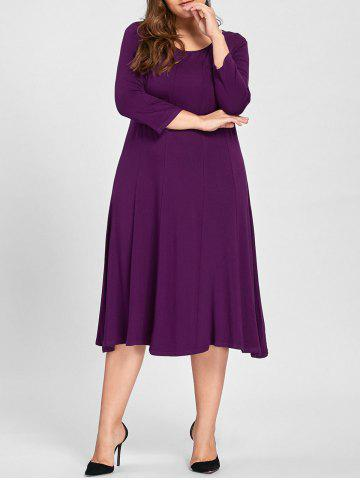Hot Plus Size A Line Midi T Shirt Dress PURPLE 3XL