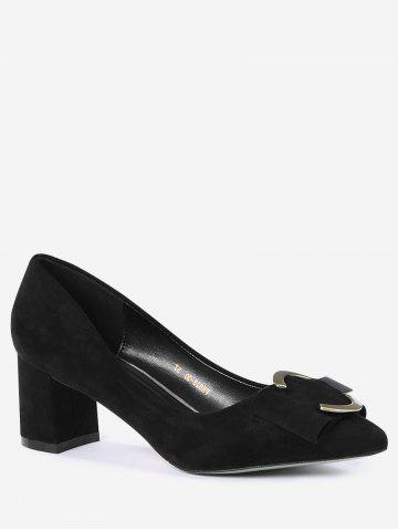 Discount Pointed Toe Metal Buckle Strap Pumps - 39 BLACK Mobile