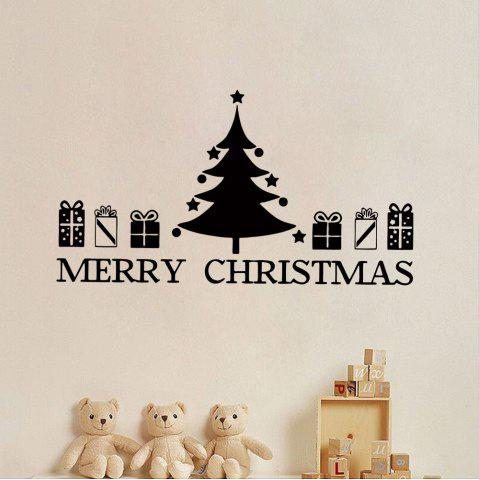 Fashion Christmas Tree Gift Pattern Wall Sticker For Bedrooms - 57*48.7 BLACK Mobile