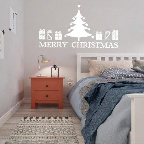 Affordable Christmas Tree Gift Pattern Wall Sticker For Bedrooms WHITE 57*48.7