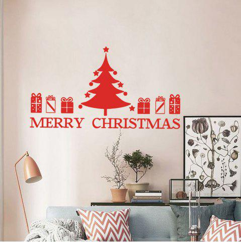 Trendy Christmas Tree Gift Pattern Wall Sticker For Bedrooms - 57*48.7 RED Mobile