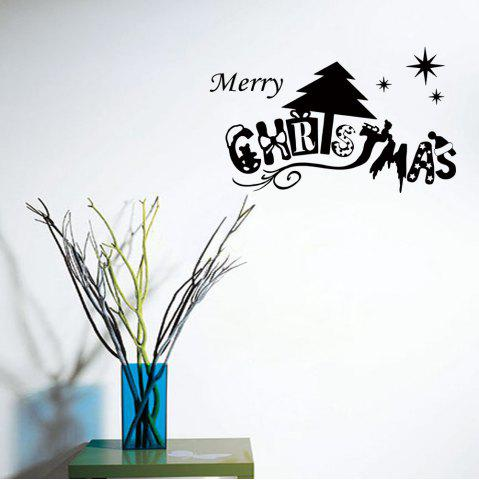 Sale Merry Christmas Wall Art Sticker For Bedrooms BLACK 57*32CM