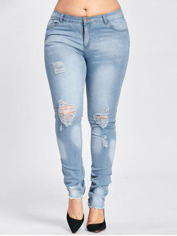 Affordable Low Waisted Light Wash Plus Size Ripped Jeans CLOUDY ONE SIZE