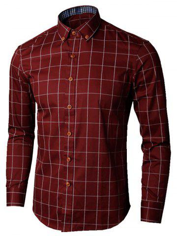 Unique Button Down Collar Checked Shirt - 5XL WINE RED Mobile